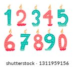 happy birthday candle numbers.... | Shutterstock .eps vector #1311959156