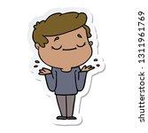 sticker of a cartoon peaceful... | Shutterstock .eps vector #1311961769