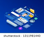 isometric personal data... | Shutterstock .eps vector #1311981440