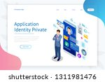 isometric personal data... | Shutterstock .eps vector #1311981476