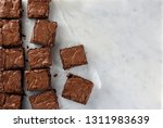 Chocolate Brownie On Paper On...