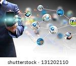 hand holding social media | Shutterstock . vector #131202110