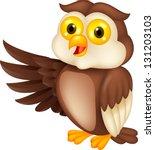 Stock vector cute owl cartoon waving 131203103