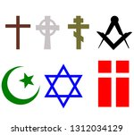 set of religious signs of...   Shutterstock .eps vector #1312034129