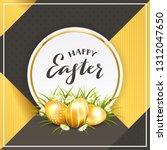 three golden easter eggs in... | Shutterstock .eps vector #1312047650