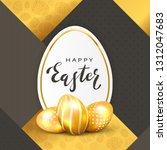 three golden easter eggs and... | Shutterstock .eps vector #1312047683