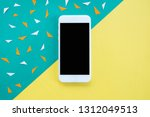 mock up smartphone on colorful... | Shutterstock . vector #1312049513