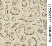seamless vegetable pattern ... | Shutterstock .eps vector #1312052279