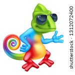 a cool chameleon lizard cartoon ... | Shutterstock .eps vector #1312072400