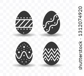 set of easter egg icon simple...