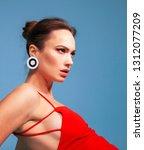 model on blue background... | Shutterstock . vector #1312077209