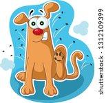 funny dog scratching fleas...   Shutterstock .eps vector #1312109399