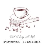start a day with coffee ... | Shutterstock .eps vector #1312112816