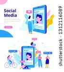 social media concept...   Shutterstock .eps vector #1312116089