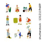 people working in garden or... | Shutterstock .eps vector #1312119689