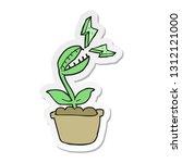 sticker of a cartoon venus fly... | Shutterstock .eps vector #1312121000