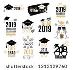 graduation class of 2019 labels ... | Shutterstock .eps vector #1312129760