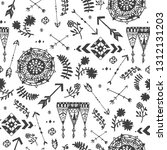 vector seamless hand drawn... | Shutterstock .eps vector #1312131203