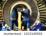 jet engine remove from aircraft ... | Shutterstock . vector #1312140503