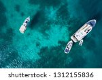 aerial view of anchored boats... | Shutterstock . vector #1312155836