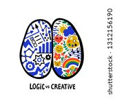 psychology. logic vs creative.... | Shutterstock .eps vector #1312156190