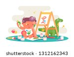 little kid painting picture on... | Shutterstock .eps vector #1312162343