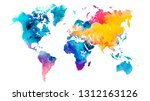 vector colorful watercolor... | Shutterstock .eps vector #1312163126