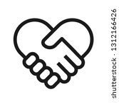 Handshake Heart Icon. Stroke...