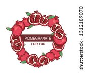 pomegranate wreath with leaves... | Shutterstock .eps vector #1312189070