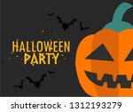 happy halloween party postcard ... | Shutterstock .eps vector #1312193279
