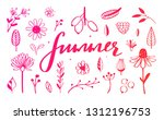 rustic and floral doodle set.... | Shutterstock .eps vector #1312196753
