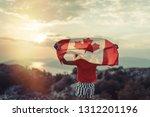happy child teenage girl waving ... | Shutterstock . vector #1312201196