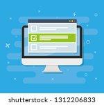 online form survey on laptop.... | Shutterstock .eps vector #1312206833