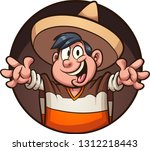 cartoon mexican boy wearing a... | Shutterstock .eps vector #1312218443