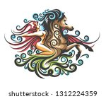 naked girl riding the horse... | Shutterstock .eps vector #1312224359