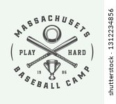vintage baseball sport logo ... | Shutterstock .eps vector #1312234856