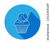 icecream in a glass icon with... | Shutterstock .eps vector #1312243169