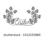 happy easter label isolated icon | Shutterstock .eps vector #1312252880