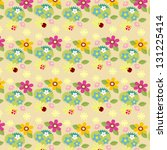ladybug and flower pattern | Shutterstock .eps vector #131225414