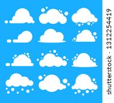 flat cloud set. white clouds on ... | Shutterstock .eps vector #1312254419