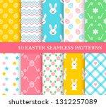 ten different easter seamless... | Shutterstock .eps vector #1312257089