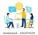 office workers are sitting at... | Shutterstock .eps vector #1312274129
