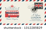 vector postcard or envelope...   Shutterstock .eps vector #1312285829