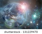 Earth in the space. Elements of this image furnished by NASA - stock photo