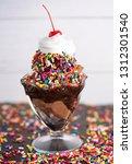 a chocolate ice cream sundae... | Shutterstock . vector #1312301540