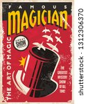 vintage poster for magic... | Shutterstock .eps vector #1312306370