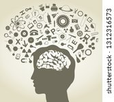 the head of the person consists ... | Shutterstock .eps vector #1312316573
