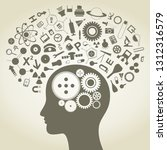 the head of the person consists ... | Shutterstock .eps vector #1312316579