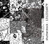 black and white modern collage ... | Shutterstock .eps vector #1312316879