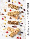 granola bar. healthy sweet... | Shutterstock . vector #1312318340